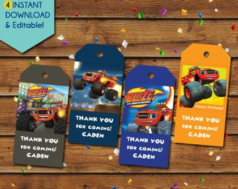 Blaze and the Monster Machines Thank You Tags, Blaze Thank You Tags, Blaze Birthday Tags, Blaze Party Favors, Blaze Party Tags, Gift Tags