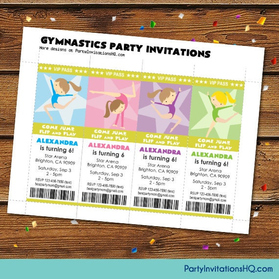 gymnastics party invitation wording