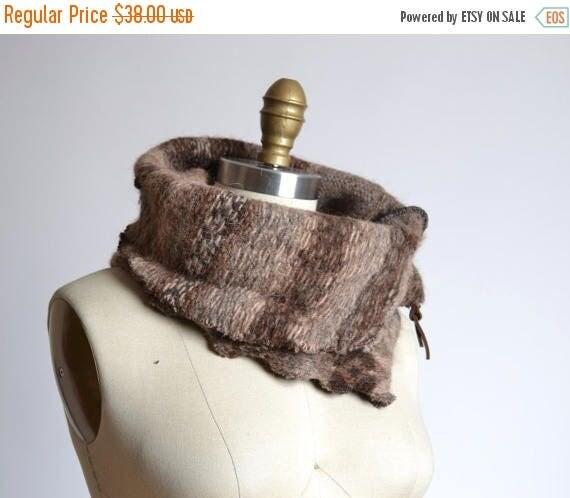 ON SALE Up-cycled  Alpaca Neck Warmer  - Wool Alpaca Neck Warmer - Wool Cowl Neck Warmer - Unisex gift ideas