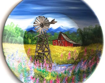 Hand Painted 11 Inch Gold Pans Mountain Spring Windmill
