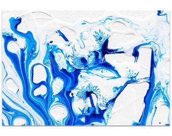 Abstract Wall Art 'Coastal Waters 3' by Jamie Anton - Colorful Urban Decor Contemporary Splatter Artwork on Metal or Plexiglass