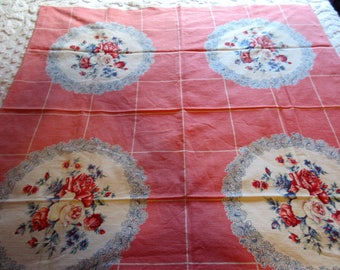 Vintage Pink Medallion Tablecloth (46 by 46 Inches)