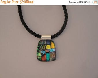 Christmas in July Sale Fused Dichroic Glass Multi-Colored Pendant - BHS03621