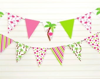 Flamingo Banner - Tropical Banner - Flamingo Party - Flamingo Party Decor - Tropical Party - Luau Banner - Luau Party Decorations - Pennant