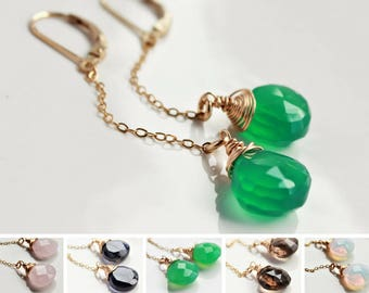 Green Onyx Earrings, gold-fill wire wrap, gemstone earrings, chain earrings, modern, boho earrings, long earrings, gift for her, 4192