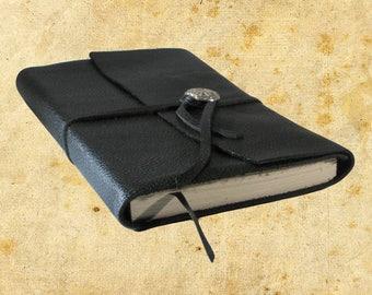 Hand Bound Black Leather Journal or Sketchbook