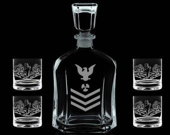 Personalized whiskey decanter set USN US Navy submariner petty officer chief cpo scpo mcpo submarine e4 e5 e6 e7 e8 e9 officer
