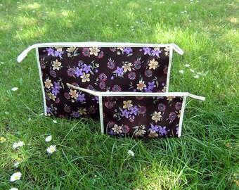 Vintage Cosmetic Purses, Pair of Vintage Purple Floral Toiletry Bags, Retro Cosmetic Purses Black Purple White