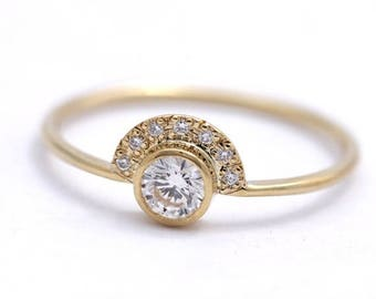ON SALE Diamond Engagement Ring with Pave Diamonds Crown - 0.3 Carat Round Diamond - 18k Solid Gold