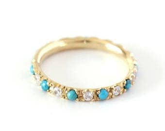ON SALE Turquoise Wedding Ring with Diamonds - Eternity Wedding Ring - 18K Gold