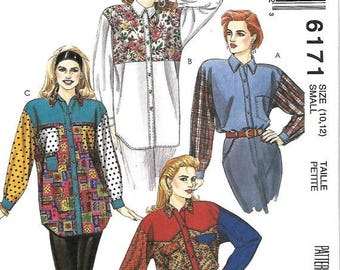 ON SALE McCall's 6171 Misses loose Fitting Shirt Pattern, 10-12, UNCUT