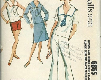 ON SALE 1960s McCall's 6865 Misses & Junior Sailor Sports Separates, Blouse Skirt and Pants or Shorts Pattern, bust 33
