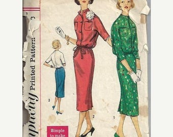 ON SALE 1950s JR. Misses Two-Piece Suit Pattern, Jacket Top and Slim Skirt, Simplicity 1913,  Bust 33