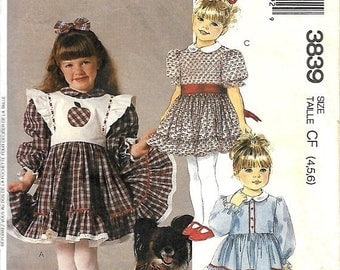 25% OFF VTG McCall's 3839 Girls Dress, Detachable Bib And Applique Sewing Pattern, Ruffles & Lace, Size 4-5-6, UNCUT
