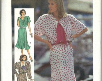 ON SALE Simplicity 7510 Misses & Miss Petite Dress Pattern, Gored Skirt, Shirt Bodice, 16-18-20 UNCUT