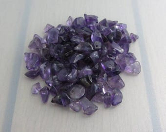 110 Amethyst Chips, Purple Amethyst Gemstones, Bead Destash