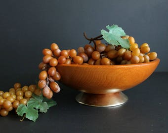 Vintage Wood Bowl Mid Century Gold Tone Metal Ring Footed Turned Oak Wood Fruit Bowl