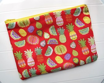 Pouch Makeup organizer Cosmetic case with Tropical fruits
