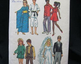 Simplicity 5330 from 1972, doll clothes pattern for Barbie, Ken, Maddie Mod, Julia, asian, casual, western, wedding, complete, mostly uncut