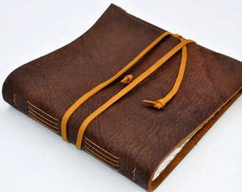 "Handmade Leather Journal 9 1/2"" x 9 1/2"" - 140 lb watercolor paper - Sketchbook - Bison Leather"