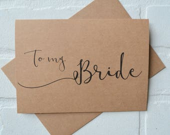 TO MY BRIDE wedding card wife card kraft wife wedding cards on my wedding day bride to be card love cards newly weds just married cards