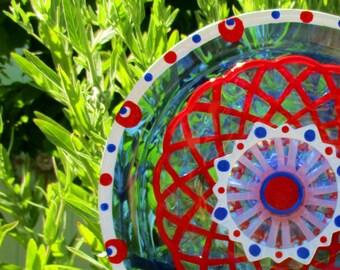 Outdoor Garden Decorations - hand painted glass flower -Glass Garden Art Sculpture with Repurposed Glass - Garden Gift, glass plate flower