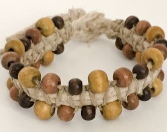 Thick Hemp Bracelet with Earthtone Beads.