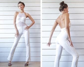 90s vintage white sexy tight fitted mesh insert cut out open back straight leg club dancer romper jumpsuit overall XS S