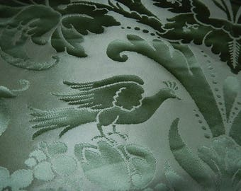 Vintage best quality green silk damask fragment for pillow sewing projects birds botanical design