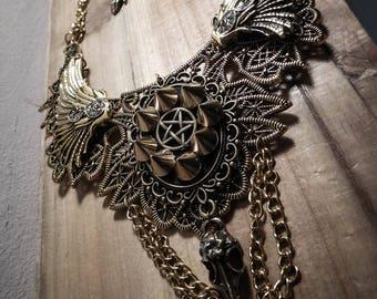 Pentagram cross spikes ♰ 666 Vampiria 666 ♰ ormolu lace bib necklace