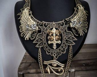 Egyptian ankh Horus 666♰ ♰666 golden lace bib necklace