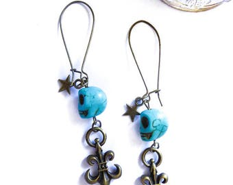 Earrings bronze head skull turquoise flower Lily Indian boho Chic