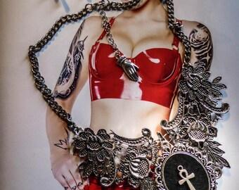 Necklace lace cabochon silver felt Boho Chic Egyptian ankh ☥ Pirate Skull ☥