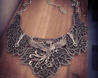 Silver bib necklace lace Poudlard Harry Potter ♠Serredaigle♠
