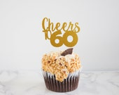 Cheers to Any Number Glitter Birthday Cupcake Toppers - Cheers Cupcake Topper - Retirement Cupcake Topper - Anniversary - Set of 12