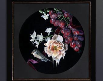 Requiem, acrylic on gesso board, 34 x 34 cm Original Painting framed
