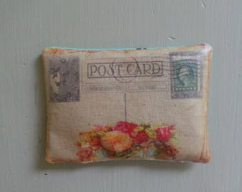 Vintage floral postcard pillows filled with lavender - sale. Birthday gift, vintage postcards, handmade pillow, lavender gift