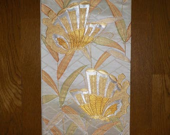 Vintage obi - Brocade, Butterfly and bamboo leaf