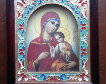Beautiful Religious Icon Mother and Child Pieta in Enamel and Wood Frame Made in Russia Mary Baby Jesus Infant Catholic 6x6.5 Shadowbox