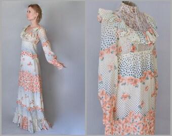 Vintage 70s Floral Maxi Dress with Sleeves Poppy Dress Prairie Dress Sheer Hippie Festival Dress Boho Wedding Dress Hippie Wedding Dress