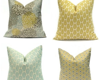 15% Off Sale Yellow Pillow , Blue Pillow Cover,  Decorative Pillow Mustard Yellow Pillow Throw Pillow Cover Blue Pillow Tan Pillow Pillows C