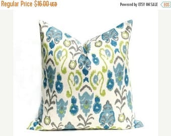 15% Off Sale Decorative Pillow covers   Throw Pillow Covers ONE 16x16 Blue Green Pillow Burlap Pillow Ikat Pillow Printed fabric both sides