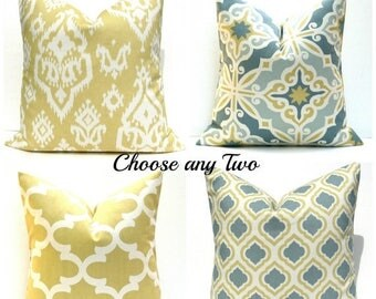 15% Off Sale Decorative Pillow Covers Gold Pillow Grey Yellow Pillows TWO Pillows Blue Gold Pillow Moroccan , quatrefoil , couch pillows  cu