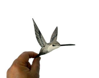 Paper machè birds decoration Hummingbird art Bird figurine
