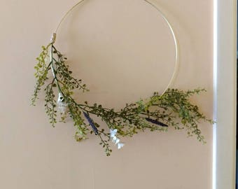 Minimalist decor.  Gold hoop wreath with greens, white flowers and lavender. Simple wall hanging.  Boho floral hoop wreath. Simple decor.