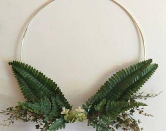 Modern decor. Modern hoop wreath. Simple wreath.  Modern wall hanging. Minimalist decor. Fern and eucalyptus wall hanging.  Greenery decor.