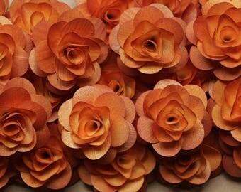 Wooden Roses 12 Pcs Burnt Orange Birch for Weddings, Home Decorations, Scrapbooking and Floral Arrangements