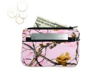 Light Pink Camo Coin Purse Wallet - 2 Zipper Change Purse Pouch - Small Wallet -  Pink Camouflage Coin Pouch - Small  pouch
