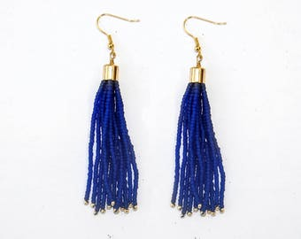 Matte Cobalt Blue with Galvanised Gold accent Tassel Earring, Seed Beads Drop Earring, Handmade in Nepal, Beaded earring with tassel