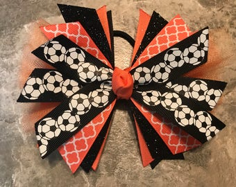 Soccer Bow - Soccer Ponytail - Soccer Hairbow - team bow - soccer ribbon - soccer hair tie - Black and Coral Soccer - streamer